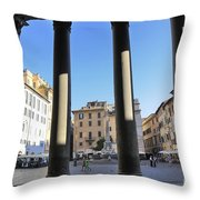 The Pantheon . Piazza Della Rotonda. Rome Throw Pillow