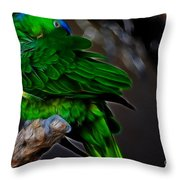 The Parrot Fractal Throw Pillow