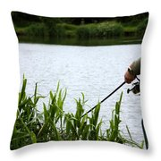 The Patient Fisherman Throw Pillow