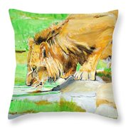 The Paws That Refreshes Throw Pillow by Judy Kay