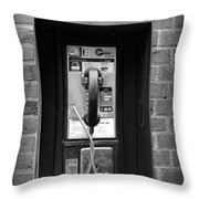 The Payphone - Black And White Throw Pillow