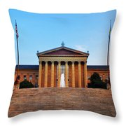 The Philadelphia Museum Of Art Front View Throw Pillow