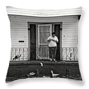 The Pigeon Lady - Black And White Throw Pillow