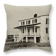 The Piney Point Lighthouse In Sepia Throw Pillow