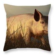 The Pink Pig Throw Pillow