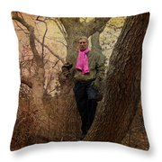 The Pink Scarf Throw Pillow