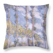 The Poplars Throw Pillow by Claude Monet