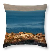 The Population Of Copacabana On The Shores Of Lake Titicaca. Republic Of Bolivia. Throw Pillow