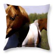 The Prairie Horses Throw Pillow