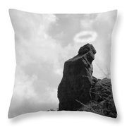 The Praying Monk With Halo - Camelback Mountain Bw Throw Pillow by James BO  Insogna