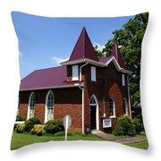 The Purple Church Throw Pillow
