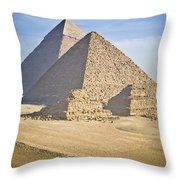 The Pyramids With Two Men On Camels Throw Pillow