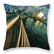 The Railing To The City Throw Pillow