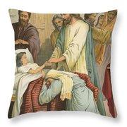 The Raising Of Jairus' Daughter Throw Pillow
