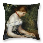The Reader A Seated Young Girl  Throw Pillow by Pierre Auguste Renoir