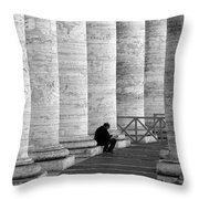 The Reader Amidst The Columns Bw Throw Pillow