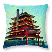The Reading Pagoda Throw Pillow