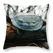 The Red Eared Slider Throw Pillow