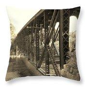 The Retired Railroad Bridge Throw Pillow