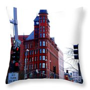 The Review Building Throw Pillow