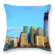 The Rising Freedom Tower Throw Pillow