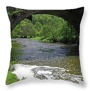 The River Dove Beneath Coldwall Bridge Throw Pillow