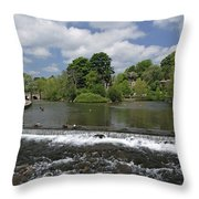 The Riverside And Weir - Bakewell Throw Pillow
