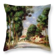 The Road To Essoyes Throw Pillow by Pierre Auguste Renoir