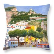 The Ruined Tower Above The Beach At Amalfi On The Southern Italian Coast Throw Pillow
