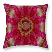 The Sacred Orchid Mandala Throw Pillow