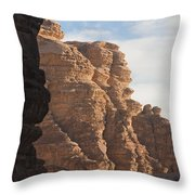 The Sandstone Cliffs Of The Wadi Rum Throw Pillow