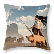 The Savage Hunting Pig Throw Pillow