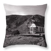 The Schoolhouse In Calico Ghost Town California Throw Pillow by Susanne Van Hulst