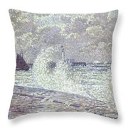 The Sea During Equinox Boulogne-sur-mer Throw Pillow