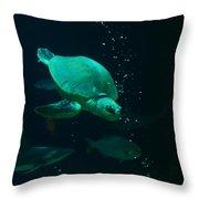 The Sea Turtle Dives Throw Pillow