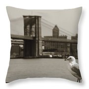 The Seagull Of The Brooklyn Bridge Throw Pillow