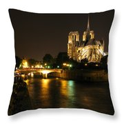 The Seine And Notre Dame At Night Throw Pillow