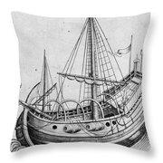 The Ship, C1470 Throw Pillow