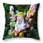 The Singing Gnomes Throw Pillow