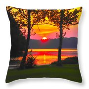 The Smiling Face Sunset Throw Pillow