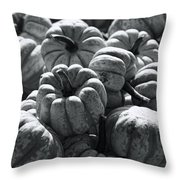 The Squash Harvest In Black And White Throw Pillow