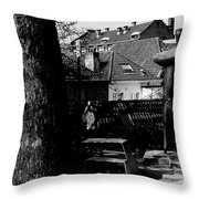 The Statue And The Tree Throw Pillow