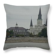 The St.louis Cathedral From Acorss The River Throw Pillow