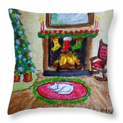 The Stockings Were Hung Throw Pillow