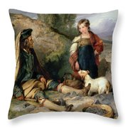 The Stone Breaker And His Daughter Throw Pillow