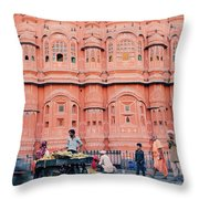 Street Life Of India Throw Pillow