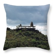 The Structure Of An Abandoned Temple On The Top Of A Green Covered Hill With Blue And White Clouds I Throw Pillow