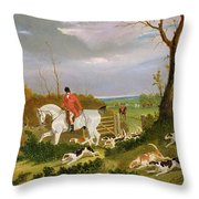 The Suffolk Hunt - Going To Cover Near Herringswell Throw Pillow