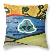 The Sun And A Boat Painting Throw Pillow