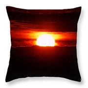 The Sun Falling Into Clouds Throw Pillow